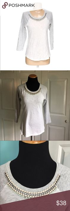 J.Crew Jeweled Neckline Shirt Beautiful Jeweled neckline baseball color block shirt. White with light gray sleeves. No beads missing from collar. Excellent condition. Size small. J. Crew Tops Tees - Long Sleeve