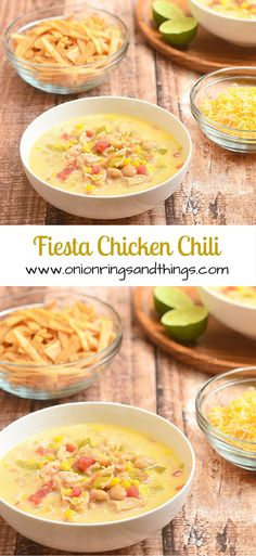 Want dinner in a hurry? This easy peasy Fiesta Chicken Chili packs flavor and is chock-full of chicken, beans and corn in a creamy broth.