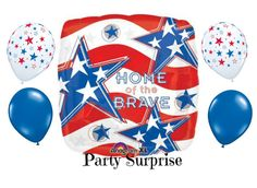 Patriotic Balloon Package with Straws Home of the by PartySurprise