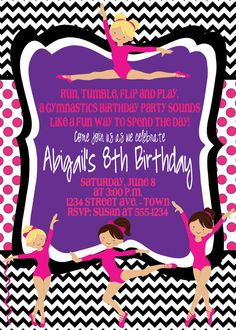Gymnastics Birthday Party Invite with FREE Cupcake by MouwDesigns, $10.00