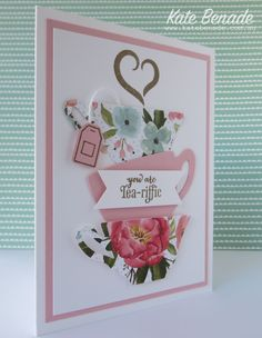 December 20, 2015   Stampin' Up! Demonstrator Kate Benade – Crazy Crafters and Pootlers Blog Hop - A Nice Cuppa, Cups and Kettles framelits, Birthday Bouquet DSP