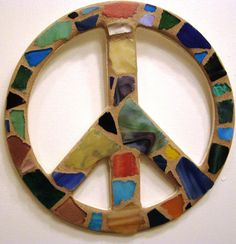 Sea Glass Peace Sign Peace Sign Wall Art by breakitupdesigns