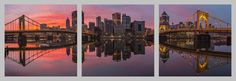 Fire and Mirrors Float Mount Photo Metal Print Triptych - Pittsburgh North Shore Sunrise Photograph