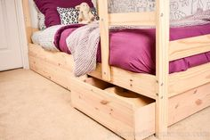 Tiny tips that make a big difference. Mydal Ikea, Ikea Bunk Bed Hack, Reclaimed Kitchen, Kids Bedroom Storage, Ikea Under Bed Storage, Bed With Slide, Storage Hacks, Storage Solutions, Small Space Storage