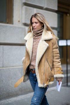 turtleneck, denim and shearling jacket...