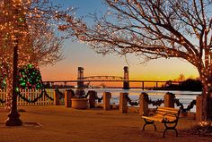 Christmas at the Riverfront Park in Wilmington, NC. Gorgeous! www.SeaCoastRealty.com #wilmingtonnc #northcarolina
