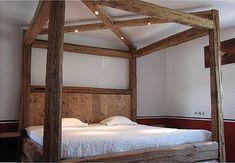 Landhausstile, Countrystile,Balkenbett, Bett aus Balken, Schlafmöbel, Massivholzmöbel