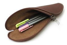 Zip Wrap Leather Pencil Case - Twist Model - Dark Brown - ZW00277F