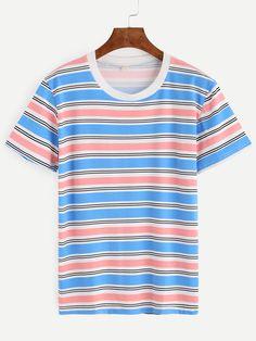 Multicolor Striped Contrast Neck T-shirt