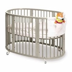 Perhaps a gray crib.