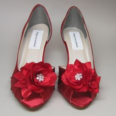 Wedding Shoes -- Red Wedding Peeptoes with Matching Trio of Red Flowers Adornment. $175.00, via Etsy.