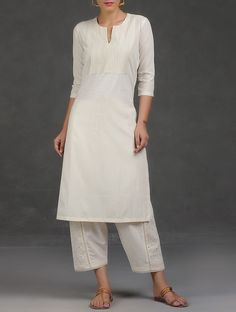 Buy Ivory Embroidered Pintuck Cotton Kurta Chanderi Women Kurtas Hansika Appliqué and Palazzos Dresses More Online at Jaypore.com