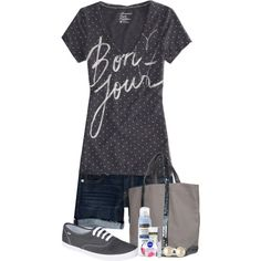 """""""Shorts and a Tee Entry #1"""" by nessiecullen2286 on Polyvore"""