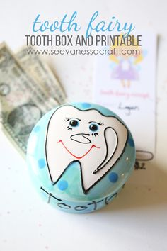 Tooth Fairy Painted Box and Tooth Receipt - Free Printable