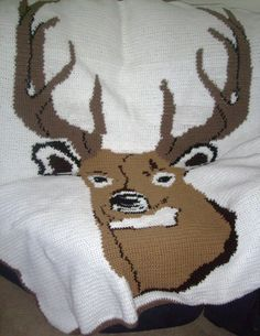 Deer Head Crochet Pattern Graph for Afghan on www.mckcreations.com