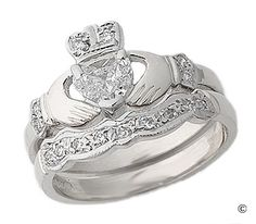 Diamond Claddagh Engagement & Wedding Ring Set. I always dreamed of a wedding set like this. My version would have a yellow gold band and crown with white gold hands. Maybe all rose gold instead!