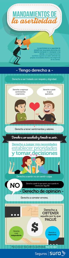 """Hello: We share an infographic on """"Assertiveness – Should we Instill it in Schools? A great greeting Source: Sura Insurance Links of interest: Crítica Constructiva – 8 Tips … Social Work, Social Skills, Cognitive Behavior, Job Interview Questions, Little Bit, Assertiveness, Emotional Intelligence, Human Resources, Personal Branding"""