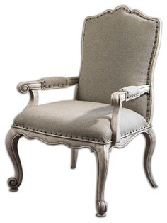 Accent Furniture Jonas Antiqued ArmChair by Uttermost Living Room Chairs, Home Living Room, Living Room Furniture, Home Furniture, Furniture Design, Dining Chairs, Staging Furniture, Furniture Chairs, Antique Armchairs