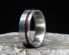 Old Growth Brazilian Rosewood Offset Inlay Titanium Wedding Band or Unique Gift Ring