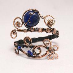 Wire Wrapped Jewelry Copper Silver Wire Jewelry by BeyhanAkman Copper Wire Jewelry, Copper Necklace, Copper Bracelet, Lapis Lazuli Bracelet, Lapis Lazuli Jewelry, Handmade Bracelets, Handmade Jewelry, Copper Anniversary Gifts, Copper Gifts