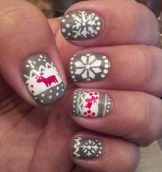 Christmas Sweater Nails - looks like hard work. Good thing Jamberry has the exact same pattern of Christmas Sweater Wraps! Xmas Nails, Holiday Nails, Get Nails, Hair And Nails, How To Do Nails, Snow Nails, Diy Christmas Nail Art, Grey Christmas Nails, Reindeer Christmas