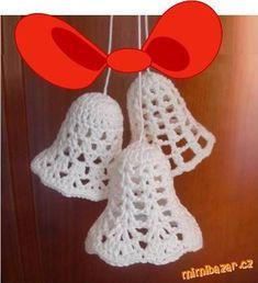 Bildergebnis für schemy na háčkované zvonečky Crochet Christmas Decorations, Crochet Decoration, Crochet Ornaments, Christmas Crochet Patterns, Holiday Crochet, Crochet Snowflakes, Christmas Ornaments To Make, Christmas Bells, Crochet Crafts