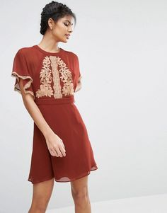 ASOS | ASOS Embroidered Skater Dress With Open Back
