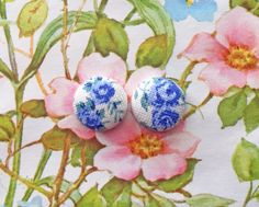 Wholesale Button Earrings / Fabric Covered / Blue Floral / Posts / Gift Ideas / Handmade USA / Bulk Jewelry / Hypoallergenic Post Earrings by ManhattanHippy on Etsy