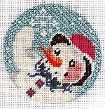 Snowman Painted Canvas Stitch Guide
