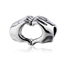Fingers With Hearts Charm 925 Sterling Silver