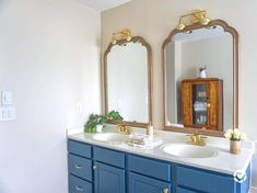 The classic blue and gold combination Bathroom Renovation, Polished Brass, Classic Blue Bathrooms, Bathroom Inspiration, Bathroom Faucets, Bathroom Goals, Bathrooms Remodel, Kingston Brass, Bathroom Design