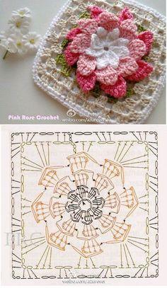 Web Server's Default Page Motifs - Diy Crafts - moonfer Motif Mandala Crochet, Crochet Motifs, Crochet Blocks, Granny Square Crochet Pattern, Crochet Flower Patterns, Crochet Stitches Patterns, Crochet Diagram, Crochet Chart, Crochet Squares