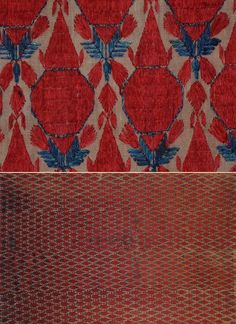 Eastern Panjab four panels Shawl. Silk Embroidery on a Cotton plain weave. Detail. Circa 1800