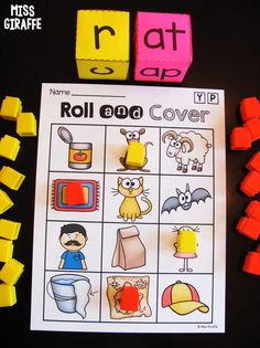Fun CVC Word Families games you can play at home or in the classroom to practice reading simple short vowel words. Perfect for kindergarten and early first grade. You can roll and cover OR color to pick what your kids like best. The pictures are cute and engaging and children love getting to mark their picture so it is motivating to read each onset and rime they roll with the letter dice. English Activities For Kids, Word Family Activities, Cvc Word Families, First Grade Activities, Phonics Words, Phonics Games, Cvc Words, Vowel Activities, Montessori Activities