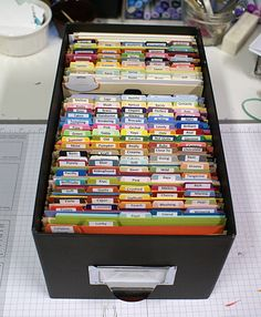 "9/27/2011; Barbara Anders at Paper Pursuits' blog; ""I make mostly A2 cards, so when I need a mat and I cut a sheet into quarters, I file all the unused quarters in this photo box that I picked up at Wal*Mart for less than $5. The dividers came from Office Depot and I made the labels for them using card stock and my SU! Round Tab punch. organization at its finest :)"