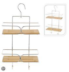 DSM Douche- & badrekje Badkamerrekje chroom met bamboe hangend