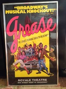 1977 GREASE Musical Poster Broadway Royal Theatre, First Edition
