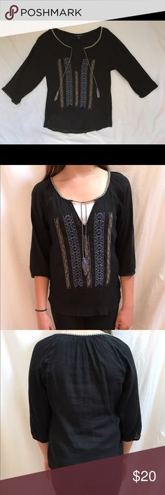 American Eagle Top Black American Eagle Top with stitched detailing and tassels. Size medium. Worn a few times but in great condition. 100% cotton. American Eagle Outfitters Tops
