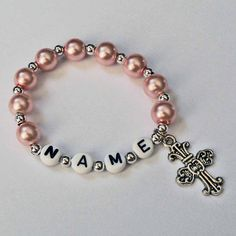 Pink Pearl and Silver Bracelet Personalized Name Bracelet with Cross Charm Child Jewelry Party Favor Infant Children Kid Adult Sizes