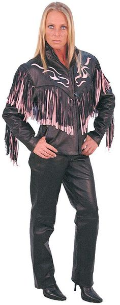 Jamin' Leather Exclusive! Black and pink leather jacket with fringe and flame inlays. Features zip front pockets and zip cuffs. Jamin' Leather Exclusive. #L284FTP with matching premium cowhide leather pants #LP710K
