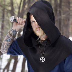 @northernaesthetic Wearing his Odins Cross from the Vinternattsblot line at thewickedgriffin.com  His hood was crafted by the very talented @midgaarb - thewickedgriffin.com