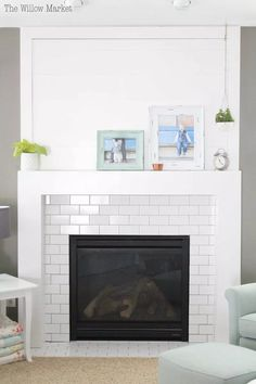 Modern fire place mantle with shiplap and white subway tile. fireplace surround modern A New Fireplace with Shiplap and White Subway Tile Subway Tile Fireplace, Tile Around Fireplace, Fireplace Tile Surround, Fireplace Redo, Shiplap Fireplace, White Fireplace, Fireplace Remodel, Fireplace Surrounds, Fireplace Design