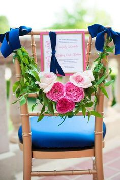 2014 pink flowers beach wedding chair decor, natural wedding chair decor idea.