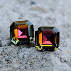 Dark Rainbow Vintage Super Sparklers RARE Vintage Square Swarovski Crystal Stud Earrings