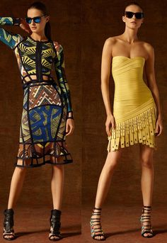 Lubov Azria, who designs the Herve Leger by Max Azria line, still has some tricks up her sleeve in order to keep the brand fresh and still stay true to its bandage dress aesthetic. She did this with new takes on fringe, African prints and rick-rack embellishments. Color combos featured lots of blue and yellow.