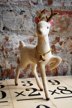 Vintage Deer Made in Japan Felted over Plastic Base