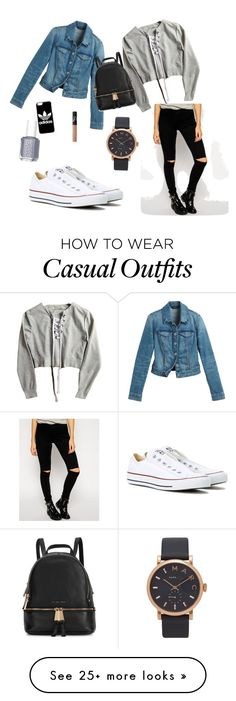 """Casual"" by fiona-zl on Polyvore featuring Converse, White House Black Market, Noisy May, adidas, Michael Kors, Essie, NARS Cosmetics and Marc Jacobs"