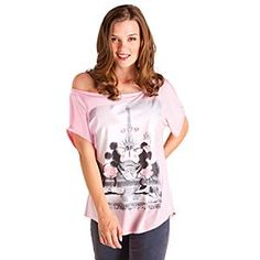 Disney Mickey and Minnie Mouse Off the Shoulder Tee for Women