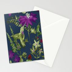 Hummingbird Garden Stationery Cards by Edith Jackson-Designs | Society6