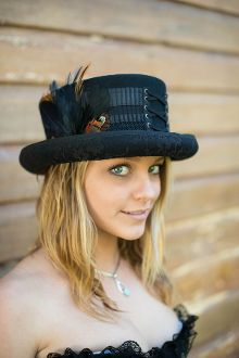 Corset Style Lace Up Victorian Steampunk Top Hat